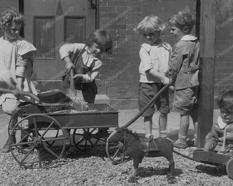 Young Children Load Rocks On Wagon 8x10 Reprint Of Old Photo
