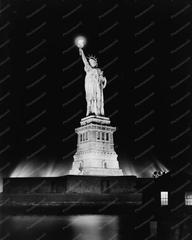 Statue Of Liberty Lit Up At Night 1910s 8x10 Reprint Of Old Photo