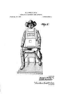 USA Patent Skelly Cowboy Slot Machine 1950's Drawings