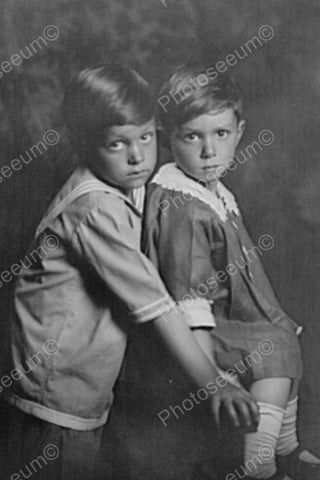 Endearing Brother & Sister Portrait 4x6 Reprint Of Old Photo - Photoseeum