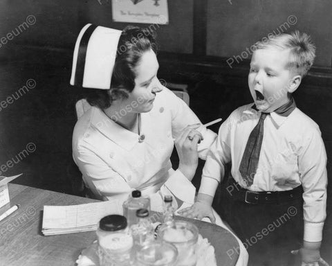 Nurse Has Small Boy Open Wide & Say Ah! 8x10 Reprint Of Old Photo