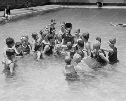 Children In Pool Listening to A Radio 8x10 Reprint Of Old Photo
