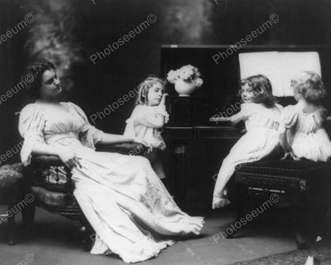Victorian Little Girls Piano Performance 8x10 Reprint Of Old Photo