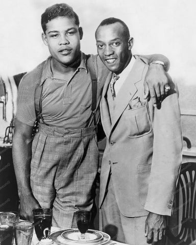 Boxer Joe Louis With Jesse Owens 1930s 8x10 Reprint Of Old Photo