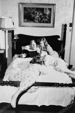 Father Reads In Bed To His Children 1900s 4x6 Reprint Of Old Photo