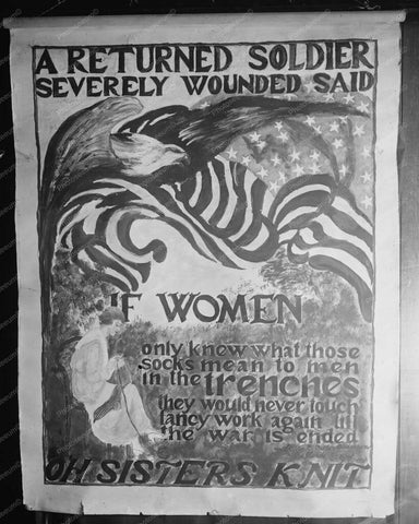 War Sign Asking Women to Knit Socks 8x10 Reprint Of Old Photo - Photoseeum