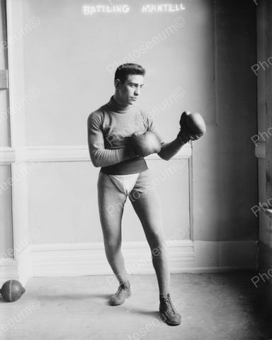 Boxer Battling Mantell 1910 Vintage 8x10 Reprint Of Old Photo