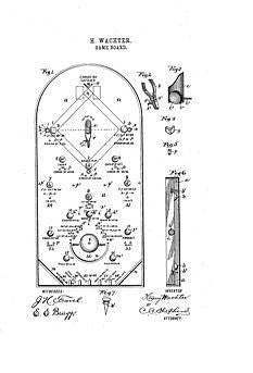 USA Patent Wachters Baseball Bagatelle 1890's Drawings