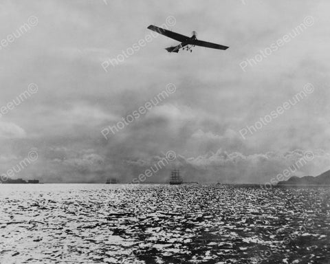 Early Airplane In Flight Over Open Water 1912 Vintage 8x10 Reprint Of Old Photo
