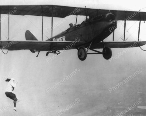 Lady Aerial Acrobat Dangles Off Airplane 8x10 Reprint Of Old Photo