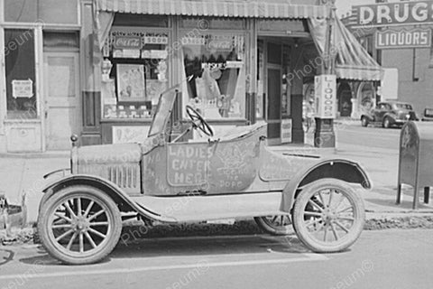 Antique Auto Parked At  Store 4x6 Reprint Of Old Photo