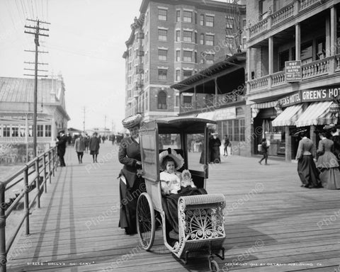 Girl & Doll Ride Boardwalk Atlantic City 1905 Vintage 8x10 Reprint Of Old Photo