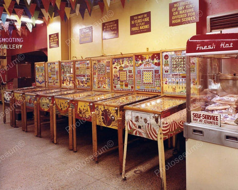 Bingo Pinball Machine Line up Arcade Vintage 1960's 8x10 Reprint Old Photo