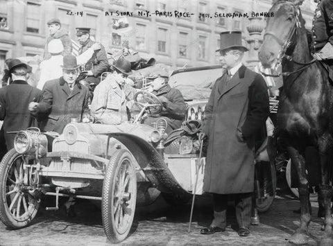 Banker Starts New York Auto Race 1908 Vintage 8x10 Reprint Of Old Photo