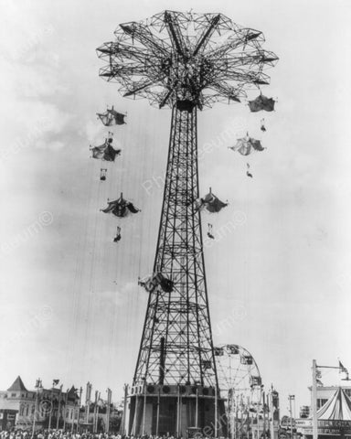 Coney Island Steeple Parachute Jump 1940 8x10 Reprint Of Old Photo