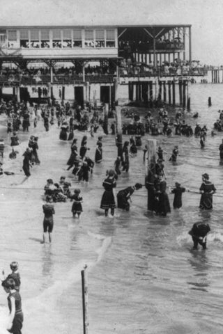 Asbury Park NJ Seaside Swimming 1920s 4x6 Reprint Of Old Photo