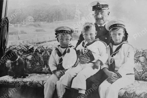 Captain With Children Sailors & Dog 4x6 Reprint Of Old Photo