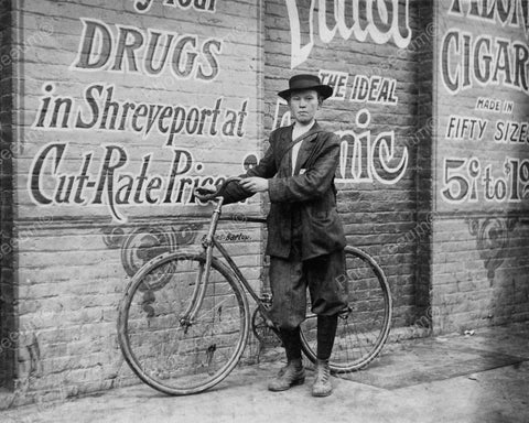 Drug Store Delivery Boy1913 Vintage 8x10 Reprint Of Old Photo