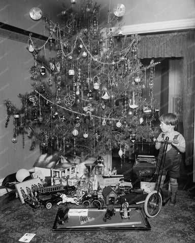 Christmas Tree, Boy With Scooter 1920s 8x10 Reprint Of Old Photo - Photoseeum