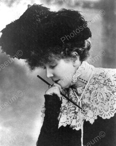 Lady In Feather Hat & Cigarette Holder 8x10 Reprint Of Old Photo - Photoseeum