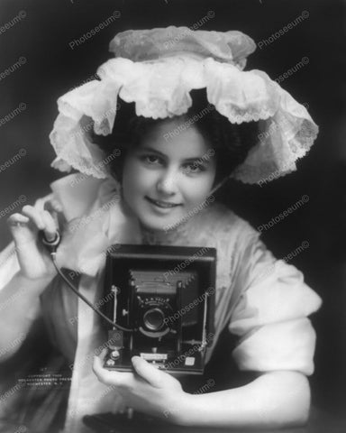 Camera Girl 1909 Vintage 8x10 Reprint Of Old Photo - Photoseeum