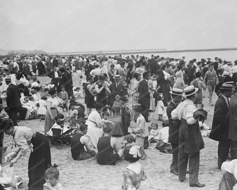 Coney Island Crowded  Beach Scene 1900s 8x10 Reprint Of Old Photo - Photoseeum