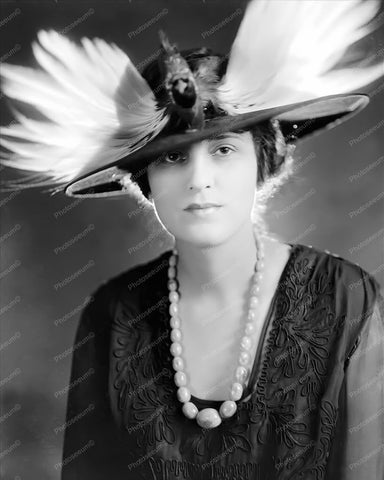 Victorian Lady In Feathered Bird Hat! 8x10 Reprint Of Old Photo