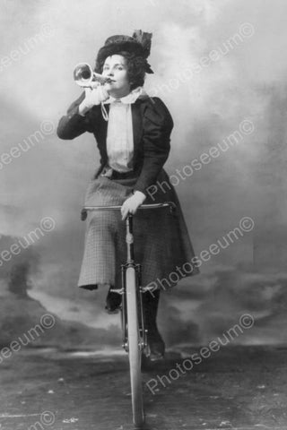 Victorian Woman Toots Horn Riding Bicycle 4x6 Reprint Of Old Photo - Photoseeum