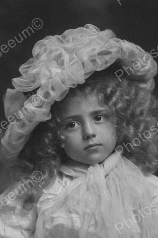 Darling Girl W Blonde Curls & Frilly Hat 4x6 Reprint Of Old Photo - Photoseeum