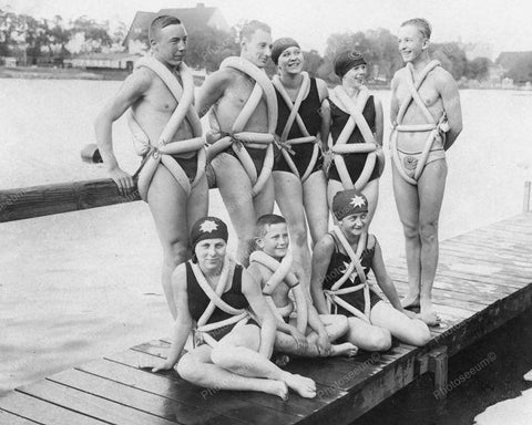 Bicycle Air Tube Tires Used for Swimming Aid Vintage 8x10 Reprint Of Old Photo