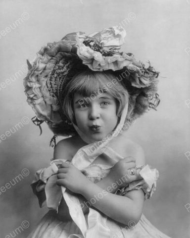 Vintage Little Girl Puckers Up Portrait! 8x10 Reprint Of Old Photo - Photoseeum