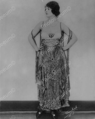 Woman Models Stylish Dress 1920 Vintage 8x10 Reprint Of Old Photo