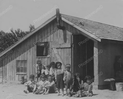 Adorable Children Outside Of Shack Vintage 8x10 Reprint Of Old Photo