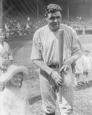 Babe Ruth New York With Little Girl Vintage 8x10 Reprint Of Old Photo