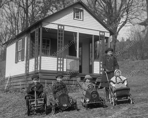 Children In Vintage Pedal Cars War House 8x10 Reprint Of Old Photo