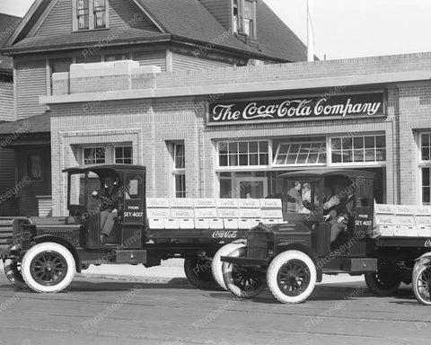 Coca Cola Company With Trucks Out Front Vintage 8x10 Reprint Of Old Photo