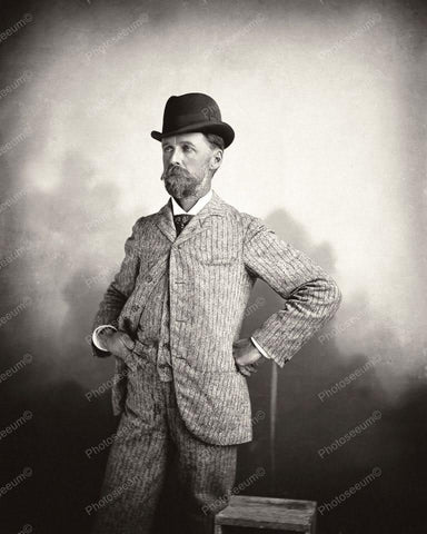 Victorian Man Poses In Fashion Attire 8x10 Reprint Of Old Photo - Photoseeum