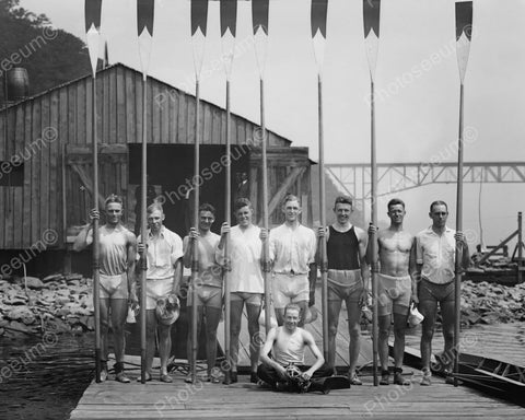 Young Men's Rowing Club Pose With Oars 8x10 Reprint Of Old Photo