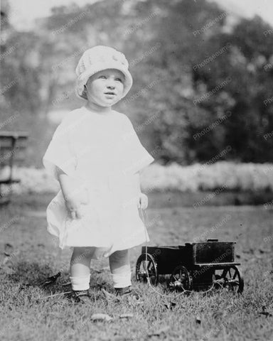 Adorable Toddler Girl With Antique Toy Wagon 8x10 Reprint Of Photo