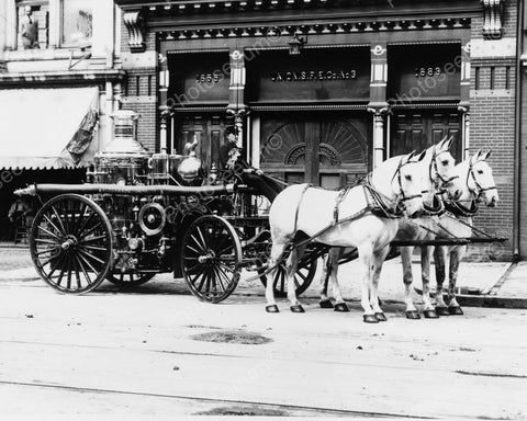 Antique Horse Drawn Fire Wagon 1900s 8x10 Reprint Of Old Photo