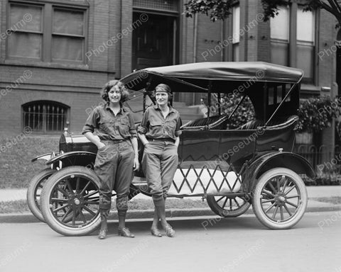 Girls Standing In Front Of Car 1922 Vintage 8x10 Reprint Of Old Photo