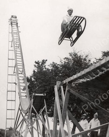 Dare Devil Slide Jump Vintage 8x10 Reprint Of Old Photo