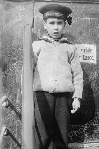 Young Sailor Boy In HMS St Vincent Hat 4x6 Reprint Of Old Photo