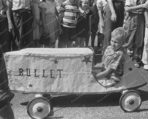 Kid Driving Bullet Car In Soap Box Deby 8x10 Reprint Of Old Photo