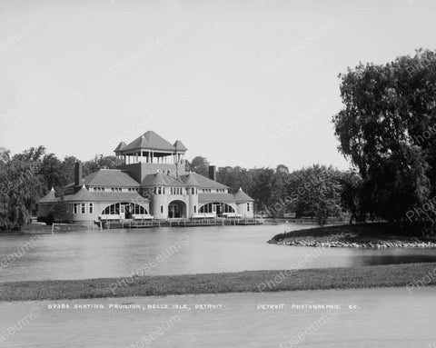 Skating Pavilion Belle Isle Detroit Vintage 8x10 Reprint Of Old Photo