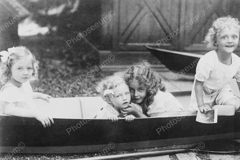 Blonde Victorian Little Girls In Canoe 4x6 Reprint Of Old Photo