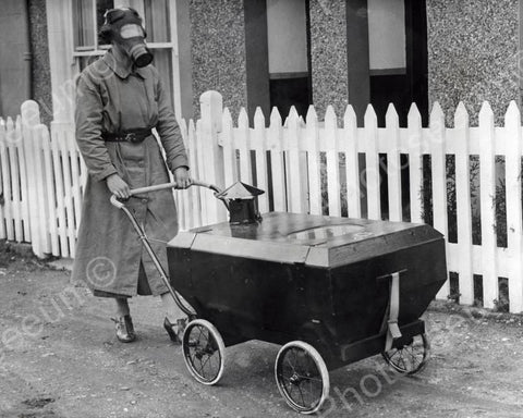 Gas War Resistant Protective Baby Carriage Vintage 8x10 Reprint Of Old Photo