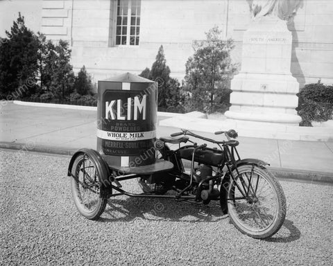 Antique Motorcycle & KLIM Milk Can 1920s 8x10 Reprint Of Old Photo