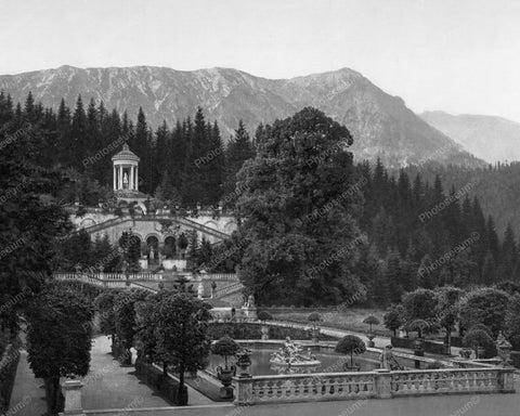 Castle Linderhof Bavaria Germany Old 8x10 Reprint Of Photo