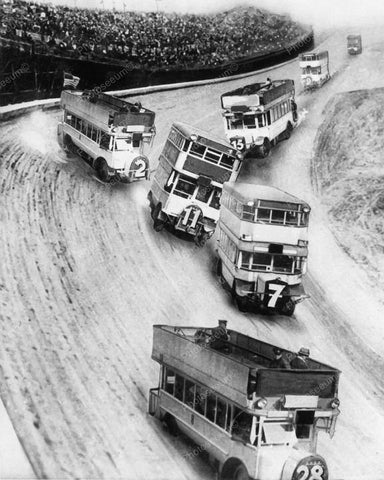Wild European Bus Race Vintage 8x10 Reprint Of Old Photo